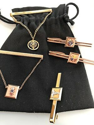 Five (5) Vintage FRATERNAL ORGANIZATION Tie BARS  ROTARY Knights of Columbus etc