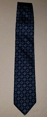 BOSS HUGO BOSS Made In Italy Silk Blue Geometric Design Necktie Mens Tie ITALIAN