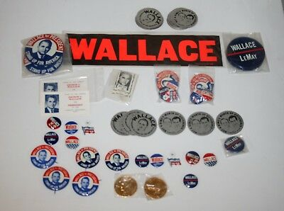 Lot of 1968 GEORGE WALLACE for PRESIDENT CAMPAIGN pins buttons tokens Decals