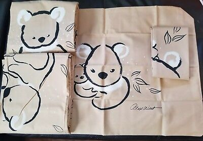 Vintage 70s Springmaid Alex West Tan Black Koala Bear Print Twin Sheet Set 4pc