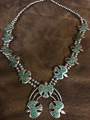 Turquoise Silver Native American Squash Thunderbird Old Pawn Navajo Necklace