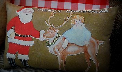 Antique Christmas Santa Claus sleigh reindeer girl riding old postcard pillow