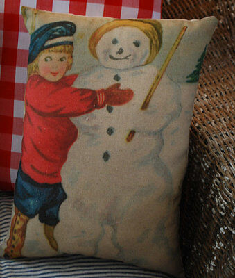 Victorian vintage child building snowman winter throw pillow frosty button boots
