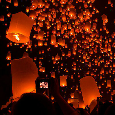 50Pcs White Paper Candle Lanterns Chinese Sky Fly Lamp for Wish Party Wedding
