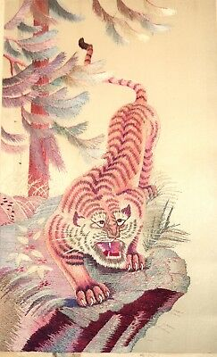 high quality antique hand embroidered Chinese silk tiger figural needlepoint art
