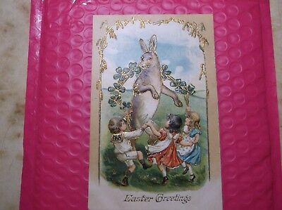Playful Easter Rabbit with Children German Gold Accents PostCard 1908