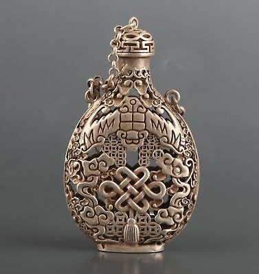 Tibetan Silver Hand-Carved Chinese Knot Decoration Pendant Snuff Bottle