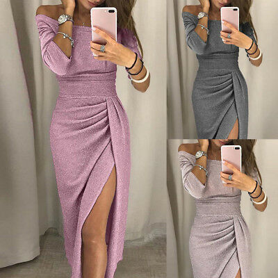 Party Womens Long Sleeve Shiny Off Shoulder Ruched Thigh Slit Bodycon Maxi Dress