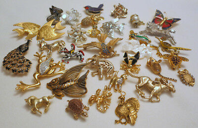 Lot 30 Vintage Figural Brooches/Pins Animal Insects Rhinestones Enamel Damascene