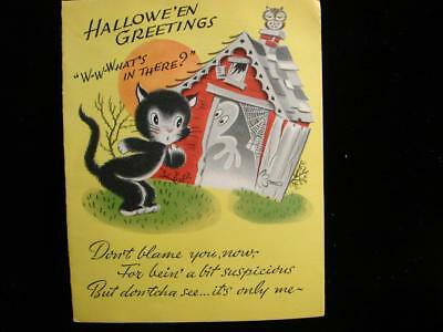 "Vintage ""w-W-What's In There?!!"" Halloween Greeting Card"