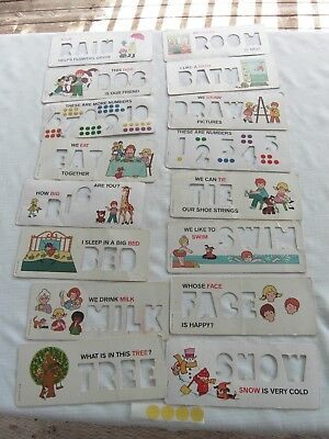 VINTAGE 1972 Fisher Price LITTLE PEOPLE Teach Learn Stencil Cards #176 ENGLISH