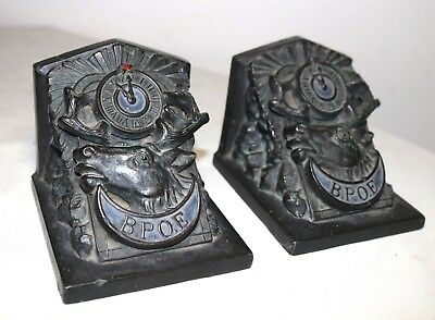 rare pair of antique B.P.O.E elks lodge bronze patinated figural bookends
