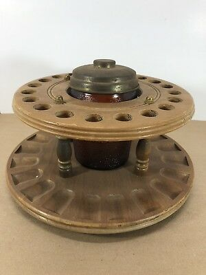 Rare Vintage Dun-Rite Pipe Holder 20 Pipe Hole Spinner Brown Glass Metal Top XL