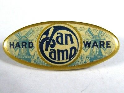 Antique Van Camp Hardware Store Advertising Celluloid Pin Axe Knife Ax Windmill