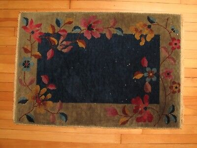 Vtg Antique Pair Of Nichols Art Deco Oriental Rug Carpet 1920's Blue Tan Green