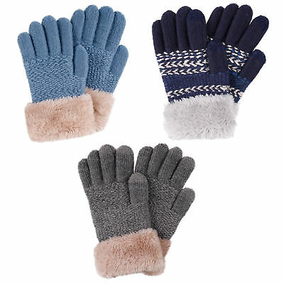 Winter Warm Kids Knitted Gloves Boys Girls Soft Touchscreen Gloves -2 /3 Pairs