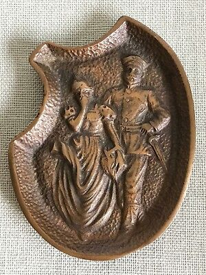 Antique Vintage Naughty Couple Bronze Two Sided Trinket Dish Erotica Victorian