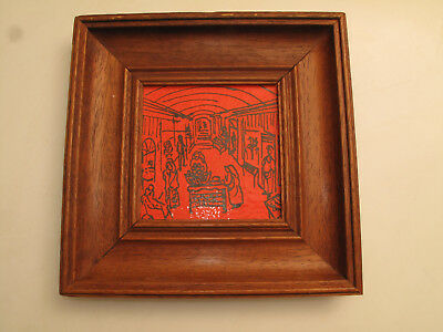 Vtg Mid Century Modern Enamel On Copper / Metal Orange Black Painting Village