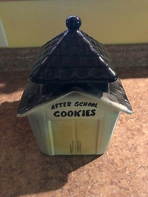 "Blue Schoolhouse, Cookie Jar w/Bell - ""After School Cookies"" - American Bisque"
