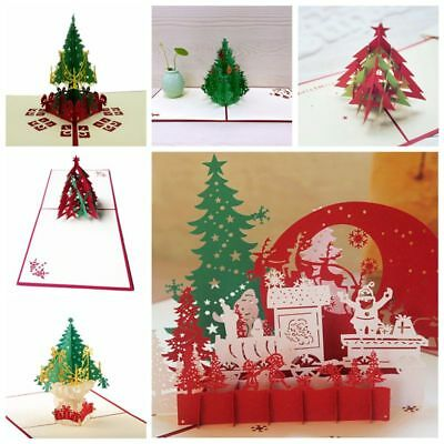 3D Pop Up Christmas Cards Handmade Holiday Greeting Card Postcard Family Xmas US