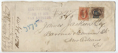 1879 San Antonio TX registered cover 10 and 2 cent banknotes [L.252]