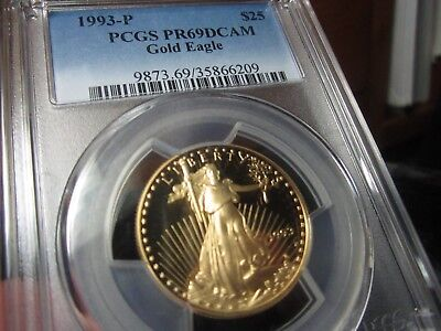 Pcgs Graded Nearly Perfect Gold Eagle 1993-P  Pr-69Dcam  A 1/2 Oz Gold Coin