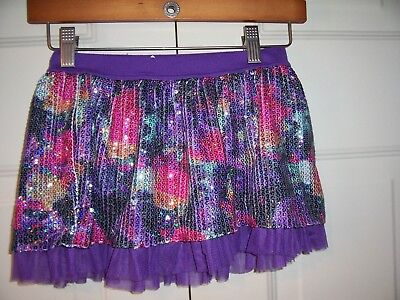 Justice girls purple skort with multi-color sequin overlay size 8