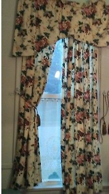 "Vintage Floral Lined Cottage Chic Lot Curtains Panels Valances 48"" x 78"" White"