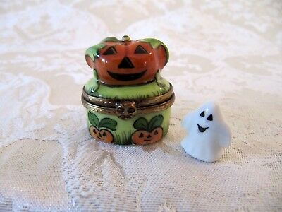 Rochard French Limoges Halloween Mini Jack O Lantern Pumpkin & Ghost Trinket Box