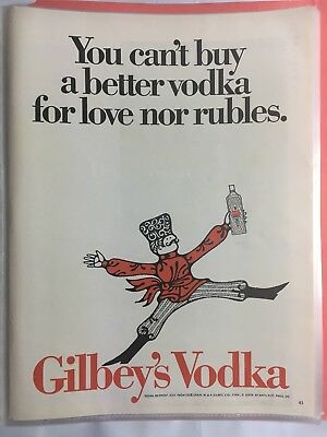1968 Gilbey's GIN Vintage Bottles - You Can't Buy a Better Vodka PRINT AD