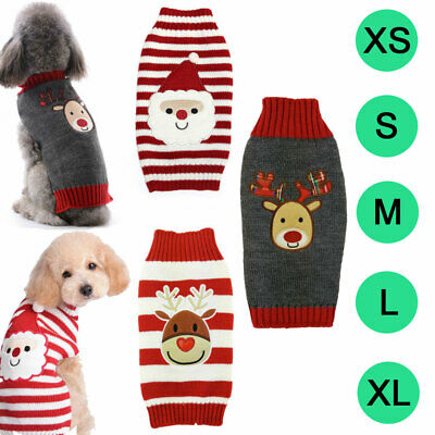 Sweater Dog Clothes Christmas Knitted Jumper Apparel For Small Large Dog XXS