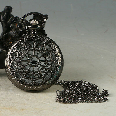 European Exquisite Classical Copper Carved Spider Web Shape Pocket Watch @LB31