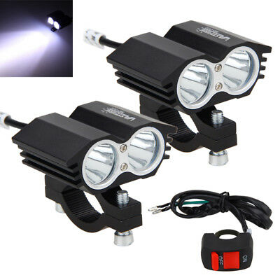 2x 5000LM 30W 2x XM-L T6 LED Motorcycle Bike Spot Light Headlight Lamp w/ Switch