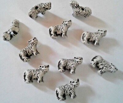 Mini Peruvian Ceramic White Tiger Earring Size Animal Beads Lot of 10 Bulk