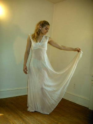 VINTAGE CREPE SILK NIGHT GOWN, IVORY, LONG, 1950's, LACE TRIM