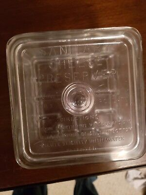 "Vintage Small Square 5.5"" Sanitary Cheese Preserver Glass Storage Nice Rare"