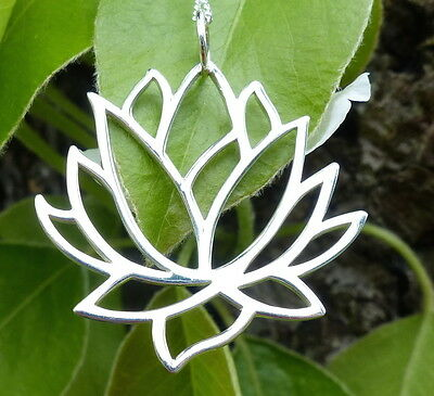 """925 Sterling Silver Lotus Necklace Large Flower Pendant Yoga Jewelry 18"""" Chain"""