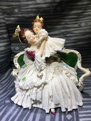 Volkstedt Ackermann & Fritze Germany Lace Porcelain Mother Daughter Figurine