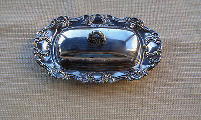 Vintage Towle Silver Plate Ornate Butter Dish With Glass Tray and Cover #EP4107
