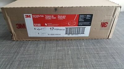 """3M 5100 FLOOR BUFFING/BUFFER  PADS, 17"""" RED, 5 Count"""