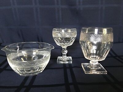 Antique 1820 Anglo Irish Cut Glass Square Foot Rummer Wineglass Rinser 25Pc Set