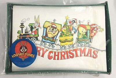Vintage Looney Tunes Christmas Cards Bugs Bunny Taz Tweety on Train New 90s 1998