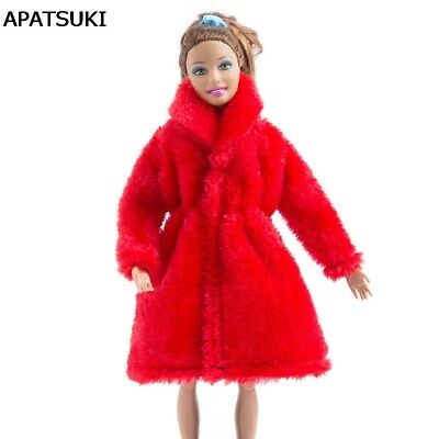"Red Winter Wear Warm Coat For 11.5"" Dolls Fur Doll Clothing Doll Dress Clothes"