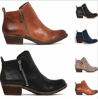 Womens Ankle Boots Low Block Heels Chelsea Zip Up Round Toe Booties Cowboy Shoes