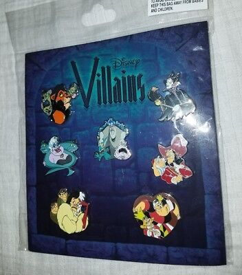 NEW Disney Parks Villains Collection Set Of 7 Pack Booster Pins