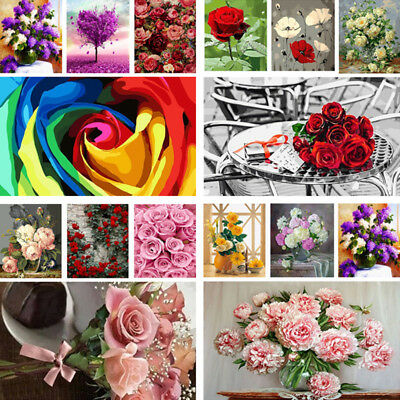 DIY Paint By Numbers Kit Digital Oil Painting On Canvas Home Wall Decor Flowers