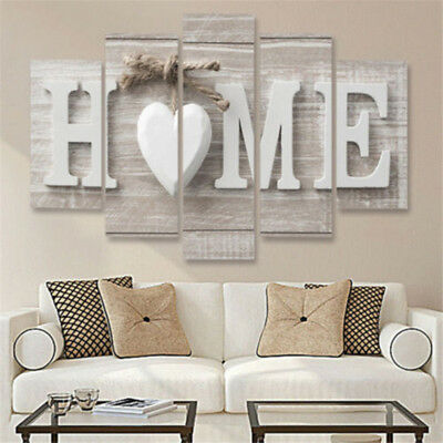 5 Panels Love HOME Wall Art Print Pictures Canvas Painting Room Decoration/Gift