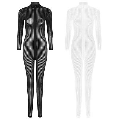 Women Striped Catsuit Sheer Tight Bodysuit/Jumpsuit Female Front Zipper Lingerie