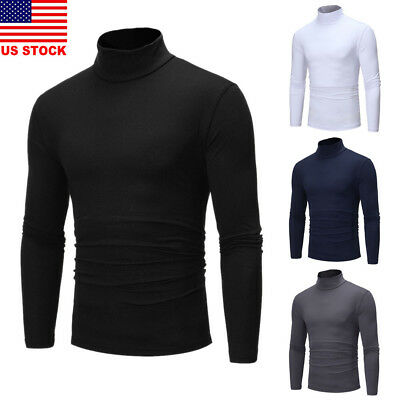 Mens Roll Neck Long Sleeve High Quality Cotton Top High Neck Turtle Neck 1Pc Us