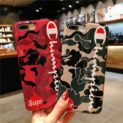 Supreme Champion Camo Shockproof Soft TPU Case Cover for iPhone X 6 6s 7 8 Plus